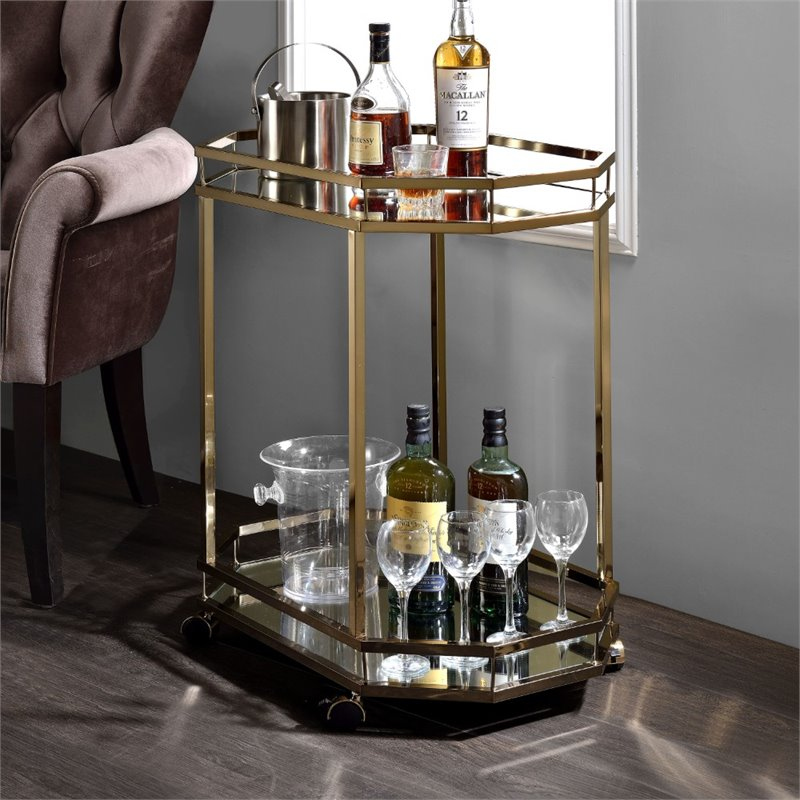 Bowery Hill Serving Cart in Mirror and Champagne