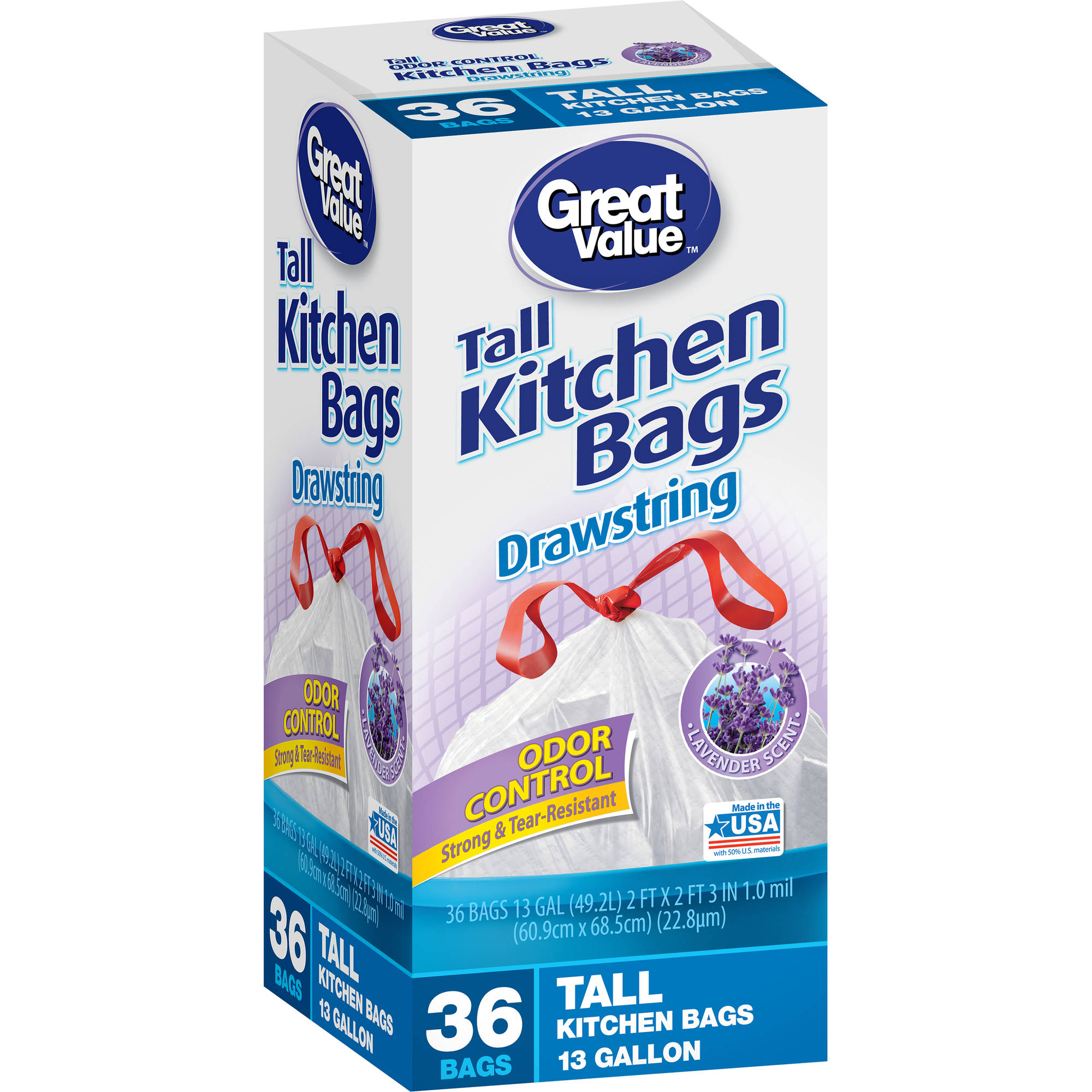 Great Value Lavender Scent Drawstring Tall Kitchen Bags, 13 gallons, 36 count
