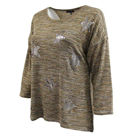 a0b5df1b43 BNY Corner - Women s Plus-Size 3 4 Sleeve Knit Top Metallic Stars ...