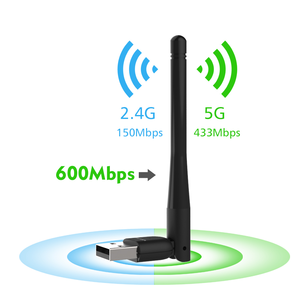 600Mbps USB WiFi Adapter Dongle Card Wireless Network Laptop Desktop PC Antenna