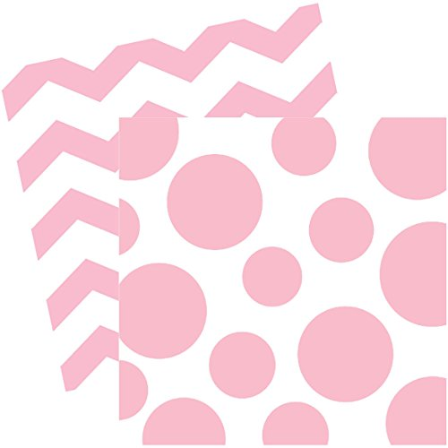 Pastel Pink Chevrons and Dots Printed Beverage Napkins (16 ct)