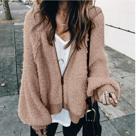 Genuine Mohair (Fashion Womens Winter and Autumn Warm Mohair Hoodie Coat Loose Long Lantern Sleeve Hooded Jacket Coat Plus Size (Khaki_S)