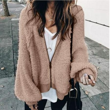 Fashion Womens Winter and Autumn Warm Mohair Hoodie Coat Loose Long Lantern Sleeve Hooded Jacket Coat Plus Size (Khaki_S )