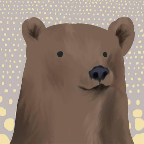 Oopsy Daisy - Bartley Brown Bear Canvas Wall Art 10x10, Meghann O'Hara