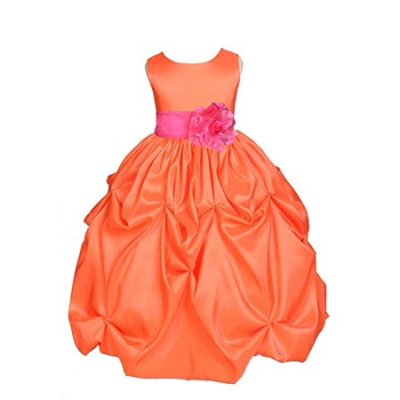 - Ekidsbridal Orange Satin Taffeta Pick-Up Bubble Flower Girl Dress Birthday Girl Dress Princess Dresses Ballroom Gown Special Occasion Dresses Easter Summer Dresses Pageant Gown Daily Dresses 301S
