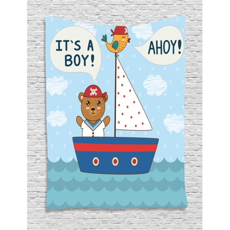 Ahoy Its a Boy Tapestry, Cute Baby Shower Theme It's a Boy in Nautical Style Bear and Bird in Boat, Wall Hanging for Bedroom Living Room Dorm Decor, 60W X 80L Inches, Multicolor, by Ambesonne (Nautical Theme Baby Shower)