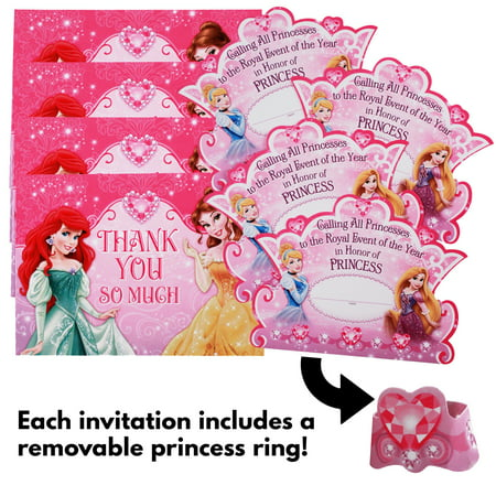 12pc disney princess girls birthday party invitations and thank you