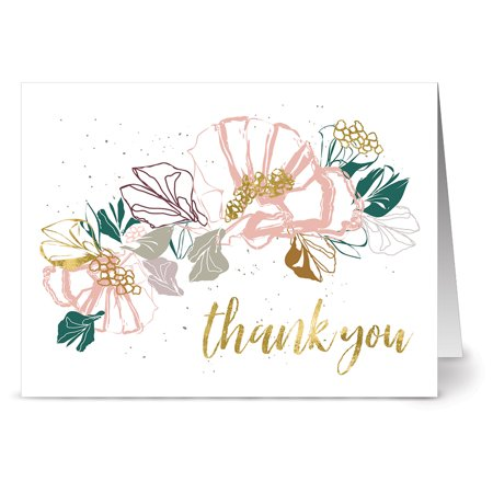24 Note Cards - Golden Floral Thank You - Blank Cards - Gray Envelopes Included ()