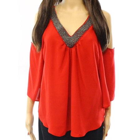 50690a676f4b Socialite - Socialite NEW Women's XS Cold Shoulder Embellished V-Neck Blouse  - Walmart.com