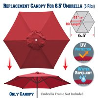 Sunrise Replacement Umbrella Canopy Cover for 6.5' 6 Ribs Outdoor Patio Market Umbrella, Canopy Only, (Burgundy)