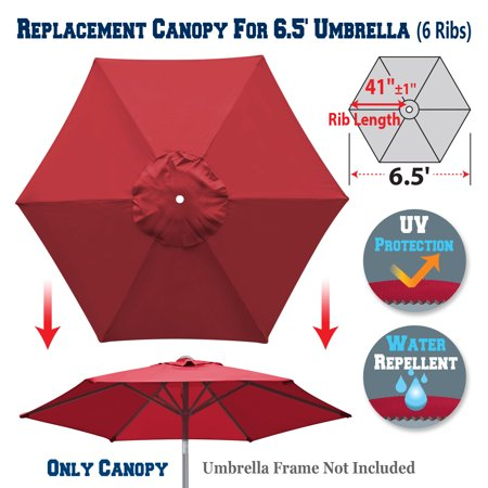 Sunrise Replacement Umbrella Canopy Cover for 6.5