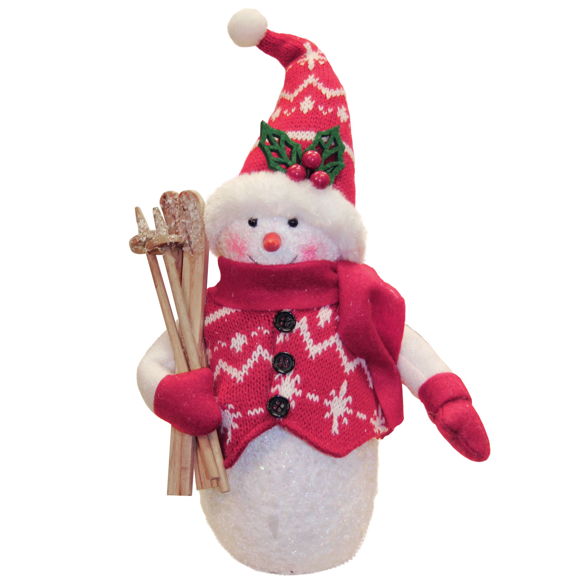 10 Alpine Chic Red And White Sparkling Snowman With Skiis Christmas Decoration Walmart Com Walmart Com