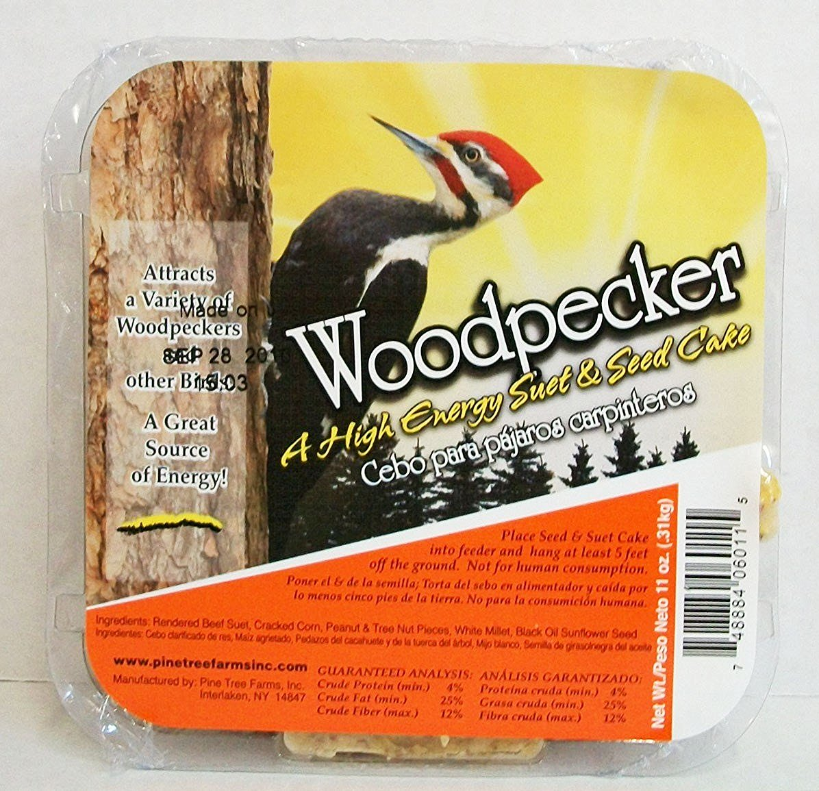 Pine Tree Farms Woodpecker Hi Energy Suet Bird Food