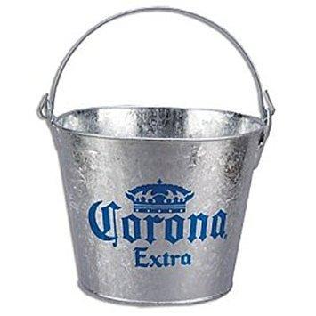 corona extra galvanized metal beer bucket with built in bottle opener. Black Bedroom Furniture Sets. Home Design Ideas