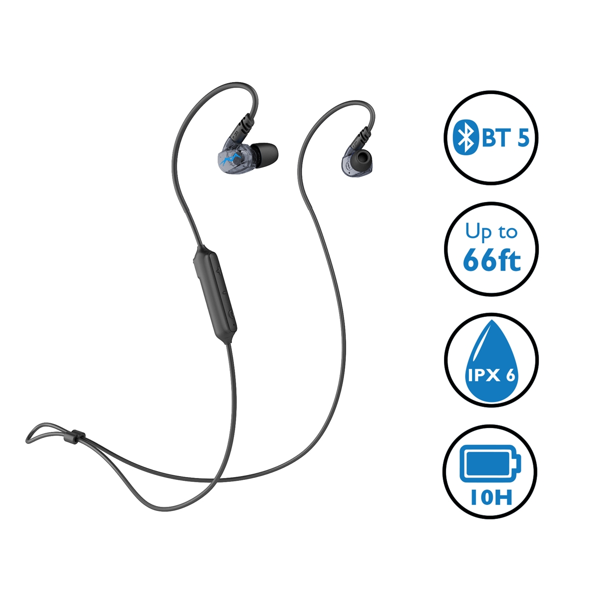 New Bluetooth 5 Sports Headphones, Sweatproof IPX6 Wireless Headset, High Fidelity Deep Bass, Comfortable Secure in Ear Fit with Mic, 10H Long Battery Life (Miccus Steath Mini)