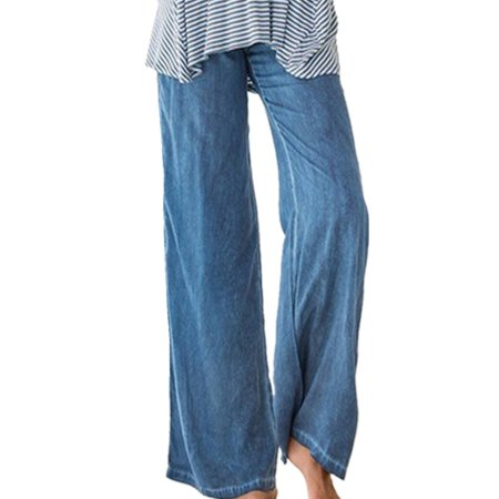 Girls Elastic Waist Pants - Women's Fashion Elastic Waist Faux Denim Solid Wide Leg Pants Flared Trousers