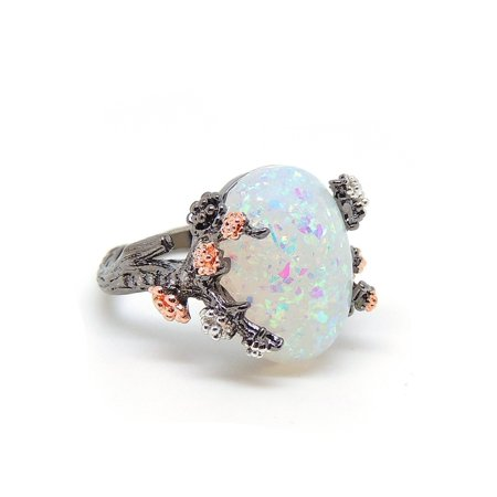 Henrietta Tree Branch Setting Oval Shape Lab Created Fire Opal Ring - Ginger Lyne Collection