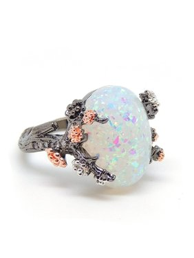 Product Image Henrietta Tree Branch Setting Oval Shape Lab Created Fire Opal Ring - Ginger Lyne Collection