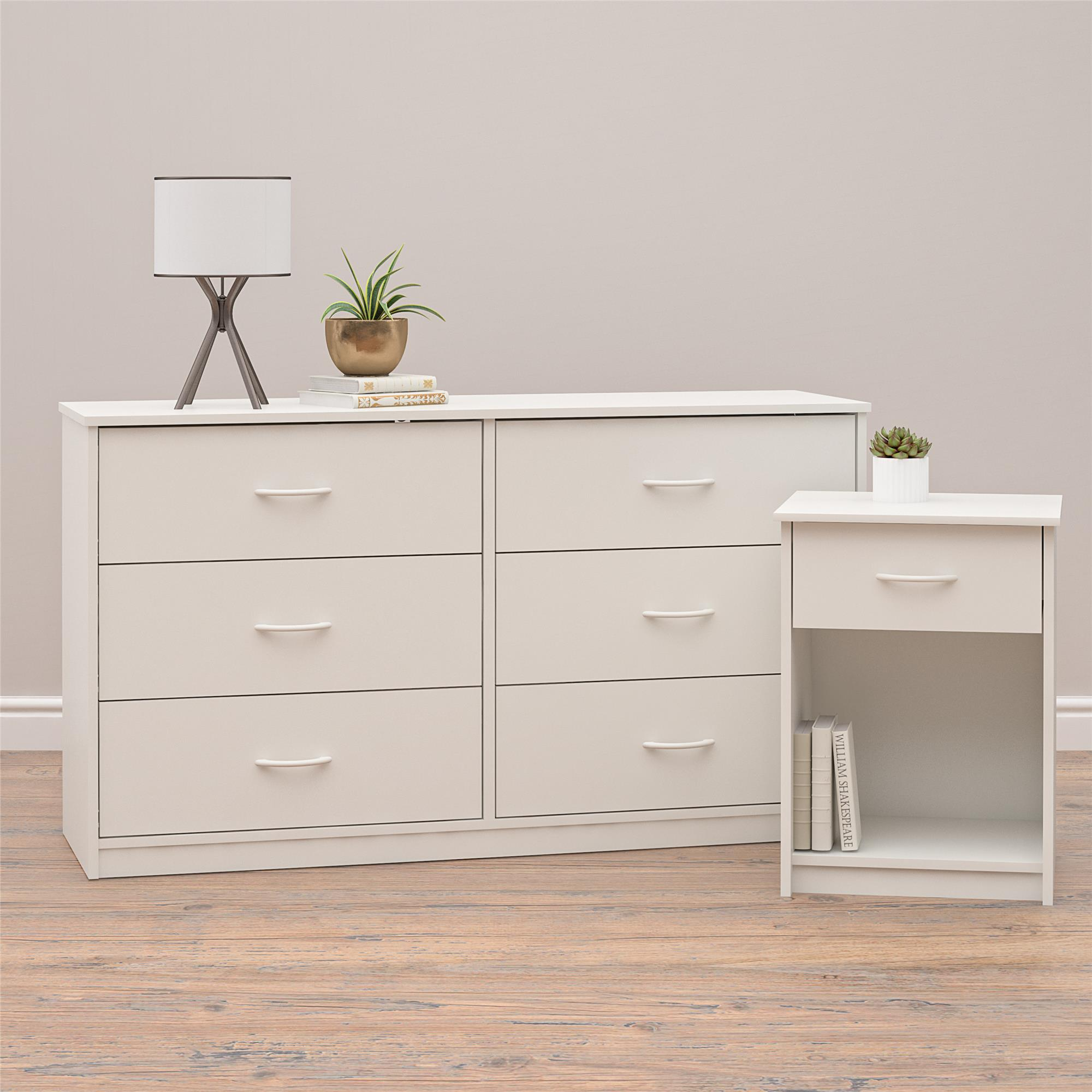 Mainstay Classic 6 Drawer Dresser White Finish .A White