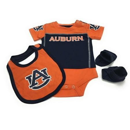 Outerstuff Baby Auburn Tigers 3 Piece Bib Bootie & Bodysuit - Tigger Onesie