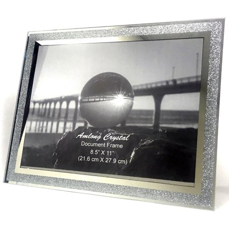 Amlong Crystal Sparkle Mirror Glass Document Frame 8.5 x 11 Inch - Document Frames, Certificate Frames, Standard Paper