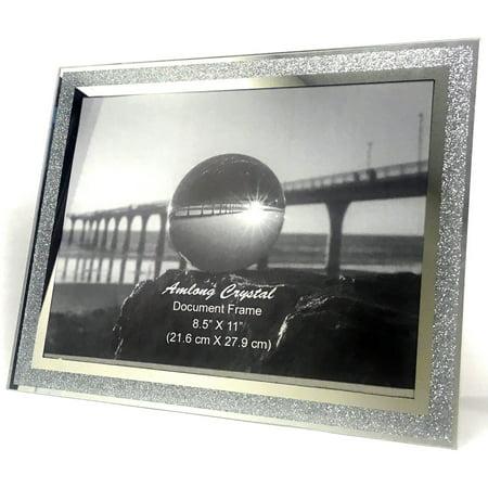 Amlong Crystal Sparkle Mirror Glass Document Frame 8.5 x 11 Inch - Document Frames, Certificate Frames, Standard Paper Frame