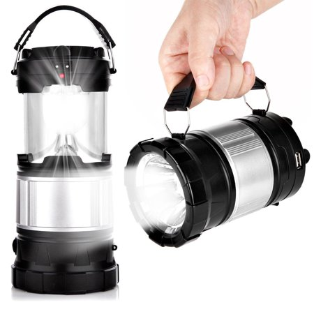 TSV Outdoor Camping Lamp, Portable Outdoor Rechargeable Solar LED Camping Light Lantern Handheld Flashlights with USB Charger, Perfect Hiking Fishing Emergency