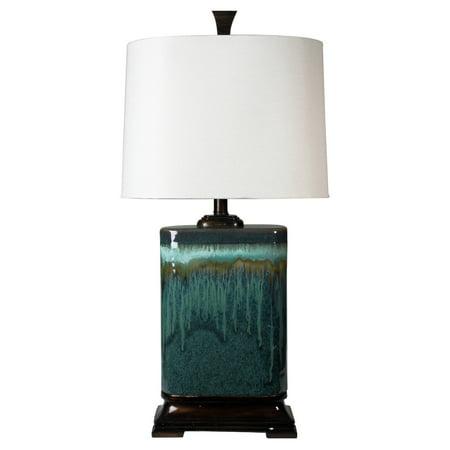 Blue Glaze Ceramic Table Lamp - Carolina Ceramic Table Lamp - Multitone Blue Glaze Finish - Oatmeal Fabric Shade