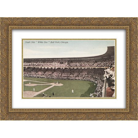 Comiskey Park 2x Matted 24x18 Gold Ornate Framed Art Print from the Stadium Series ()