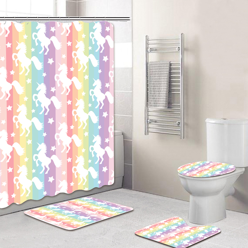 10pcs Bathroom Sets Polyester Bathroom Shower Curtain Summer Beach Unicorns  Pattern+10 PCS Mat Rugs Toilet Covers +10 Hooks for Hotel Home