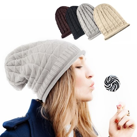 Beanie Hat for Men and Women by Zodaca Trendy Chunky Soft Knit Pattern Warm Knitted Hat Cap Skully Slouchy - Light Gray