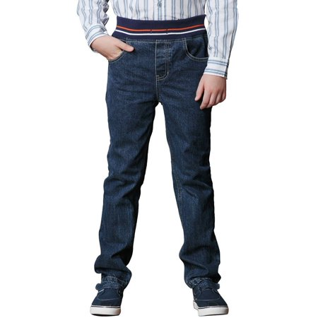 Blue Jeans Clothes - Leo&Lily Big Boys Kids Husky Rib Waist Heavy Denim Jeans Pants
