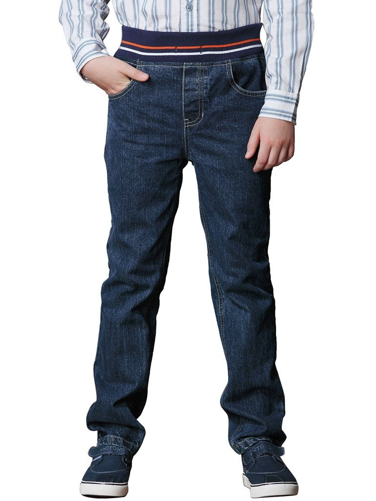 Leo&Lily Big Boys Kids Husky Rib Waist Heavy Denim Jeans Pants