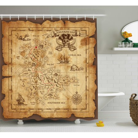Island Map Shower Curtain, Super Detailed Treasure Map Grungy Rustic Pirates Gold Secret Sea History Theme, Fabric Bathroom Set with Hooks, Beige Brown, by Ambesonne ()