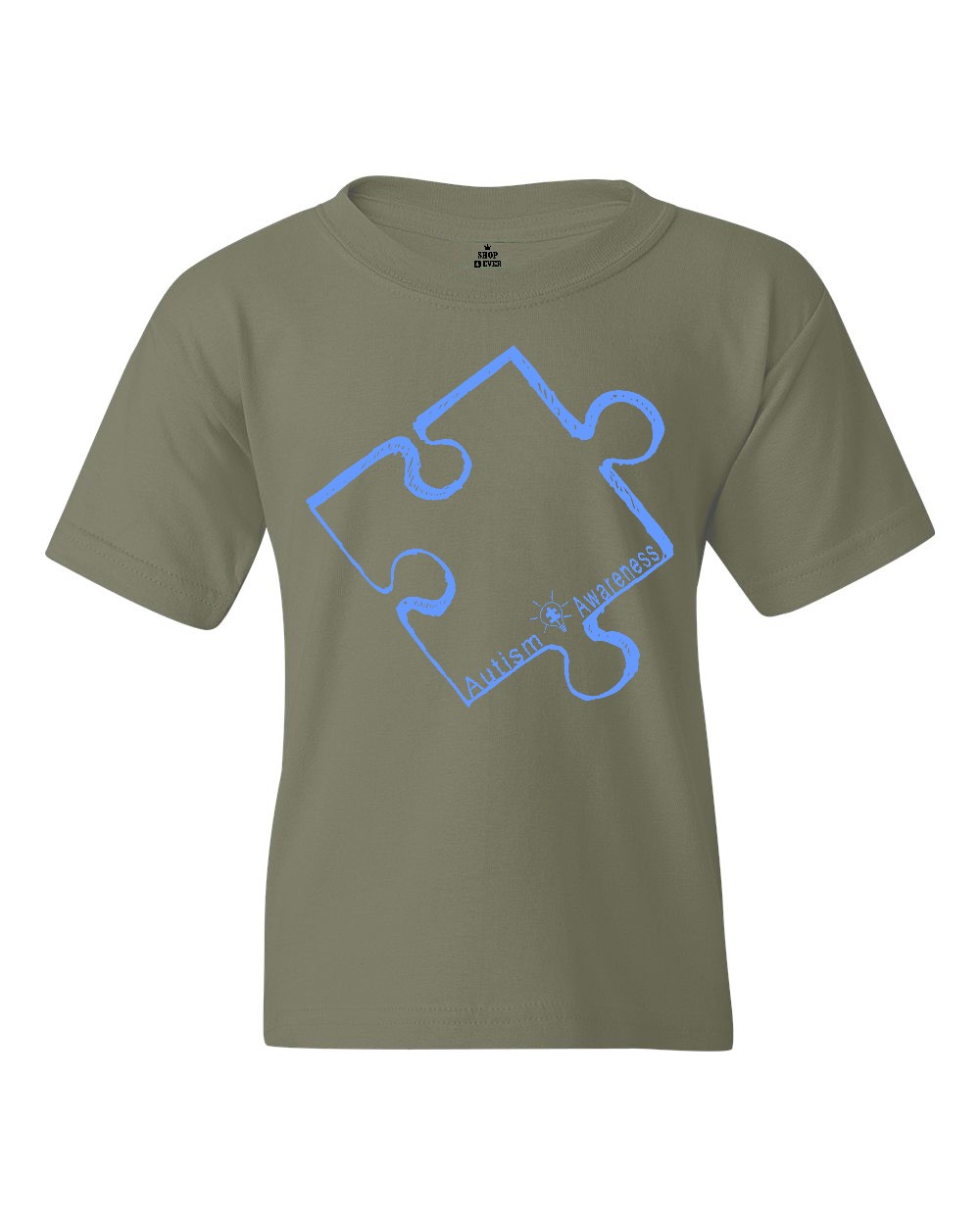 Shop4Ever Youth Blue Puzzle Piece Autism Awareness Graphic Youth T-Shirt