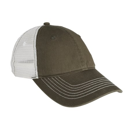 District DT607 Mesh Back Cap, Army/ White, OSFA - Mesh Cross Armor