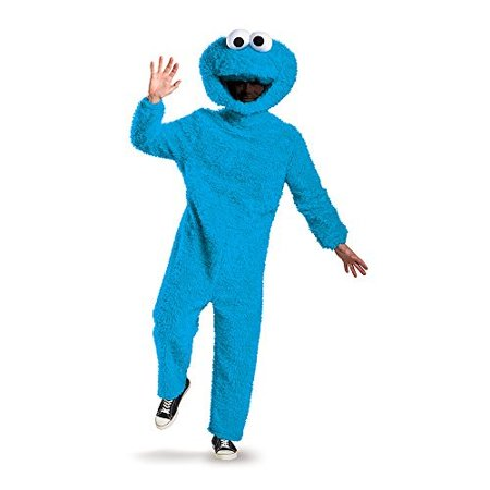 Sesame Street Plush Prestige Cookie Monster Adult Halloween Costume, XL](Sulley Monsters Inc Halloween Costume)