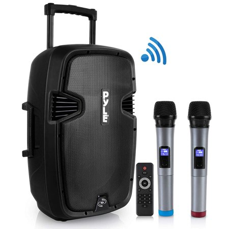 Karaoke Portable PA Speaker System - 1600W Active Powered Bluetooth Compatible Speaker, Rechargeable Battery, Easy Carry Wheels, USB MP3 RCA, FM Radio, 2 UHF Microphone, Remote -