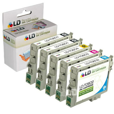 Epson Remanufactured C88, CX4200, CX4800, and CX7800 Set of 5 Ink Cartridges: 2 Black T060120 & 1 of each Cyan T060220/Magenta T060320/Yellow - T060420 Set