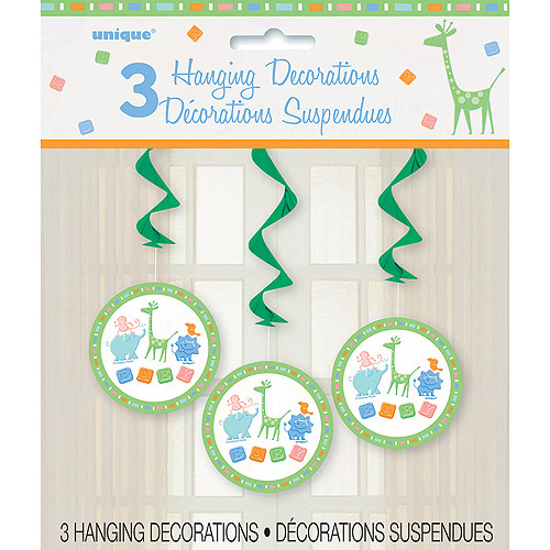 Zoo Animals Baby Shower Hanging Decorations, 3pk