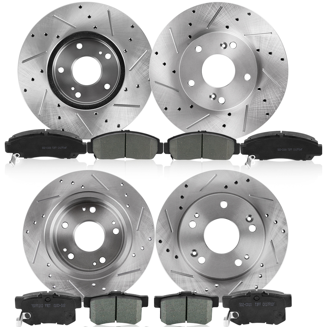 For 2003-2007 Honda Accord Rear Black Drilled Brake Rotors Replacement Parts Brake System Ceramic Brake Pads
