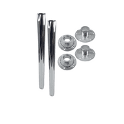 """2 Pack   Heng's 29.5"""" RECESSED RV Chrome Straight Metal Table Leg Kit  (2 Legs, 2 Surface Bases & 2 Recessed Bases)"""