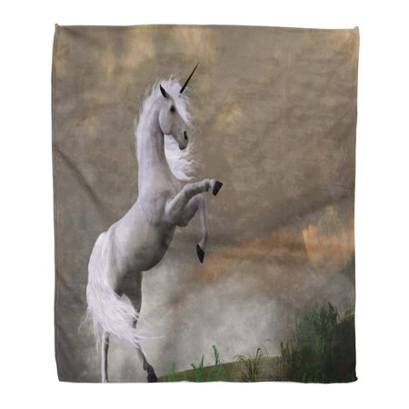 ASHLEIGH Flannel Throw Blanket Horn Rare Earth Unicorn Stag Asserts Its Power on Hill Shrouded in Clouds Bronco 58x80 Inch Lightweight Cozy Plush Fluffy Warm Fuzzy Soft