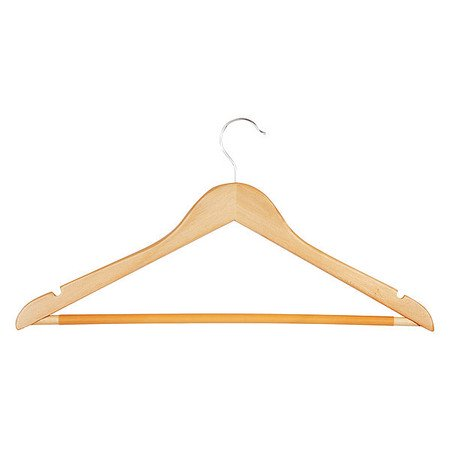 Suit Hanger, Maple, Wood, PK10 We offer clothing hangers made from a variety of materials, including wood and flock coated metal. Here is some additional information about Honey-Can-Do Suit Hanger. Material:  Wood, Finish:  Maple.