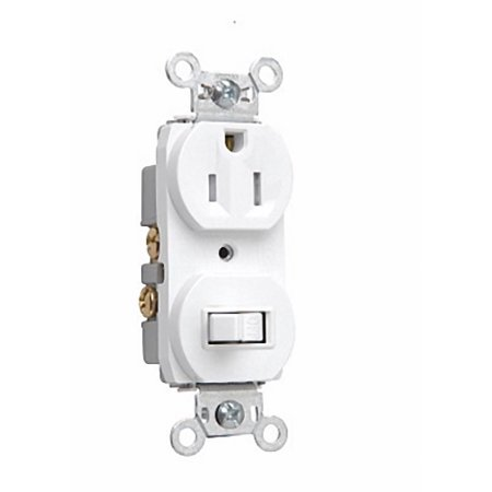 Pass & Seymour White Wall Toggle Switch Outlet Receptacle 5-15R 15A 125V 691TR-W