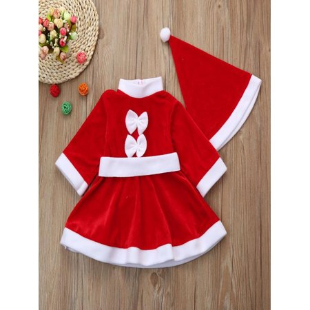 Iuhan - Iuhan Toddler Kid Baby Girl Christmas Clothes Costume Bowknot Party Dresses+Hat Outfit - Walmart.com