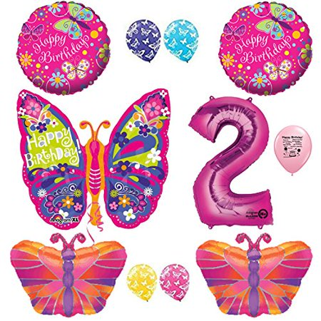 Butterfly Party Supplies 2nd Birthday Balloon Set