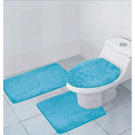 Hailey 3 Piece Bathroom Rug Set Bath Mat Contour Rug
