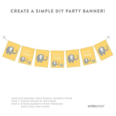 Elephant Party (Yellow Elephant Baby Shower Party Signs & Banner Decorations,)