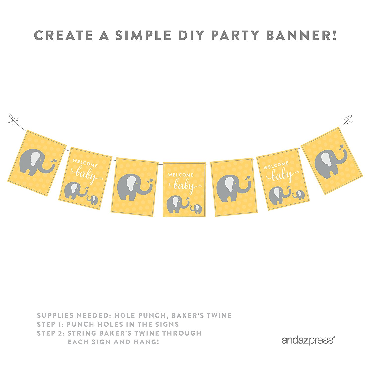 Yellow Elephant Baby Shower Party Signs & Banner Decorations, 20-Pack